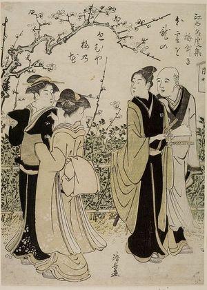Torii Kiyonaga: Encounter Beneath Cherry Tree, Mid Edo period, dated 1785 - Harvard Art Museum