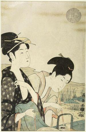 Hosoda Eishô: GIRL AND YOUTH SMOKING - ハーバード大学