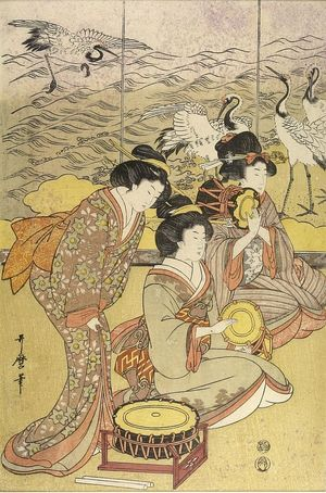 Kitagawa Utamaro: Three Women with Musical Instruments - Harvard Art Museum