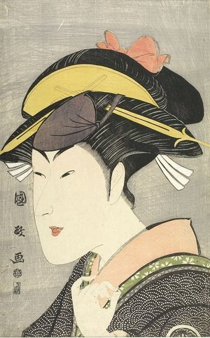 歌川国政: Actor Matsumoto Yonesaburô as a Woman, Late Edo period, early 19th century - ハーバード大学