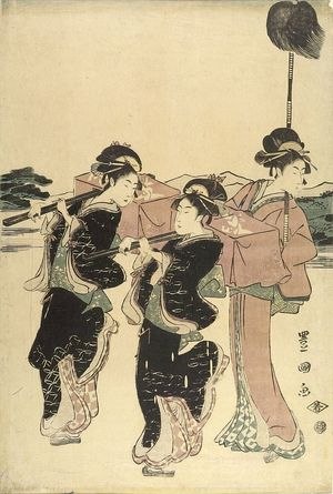 歌川豊国: PROCESSION OF WOMEN UNDER MT. FUJI (SET OF FIVE PRINTS) - ハーバード大学