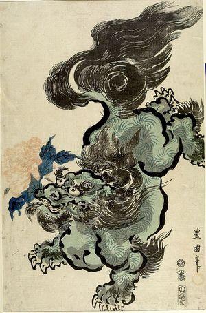 Utagawa Toyokuni I: Lion with Peony, Late Edo period, 1800 - Harvard Art Museum