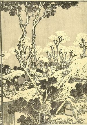 葛飾北斎: Fuji from the Sumida River (Sumida no Fuji): Half of detatched page from One Hundred Views of Mount Fuji (Fugaku hyakkei) Vol. 3, Edo period, circa 1835-1847 - ハーバード大学