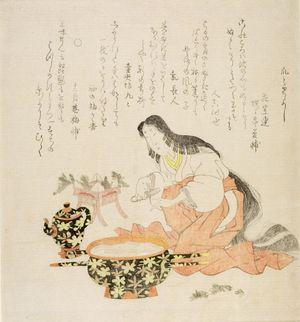 窪俊満: Auspicious Day for Manicuring (Tsumetori yoshi), from the series Ise Calendar for the Asakusa Group (Asakusa-gawa Ise goyomi), with poems by Jûnigatsuan Umezuke and associates, Edo period, circa 1813-1817 - ハーバード大学