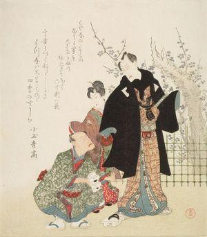 窪俊満: Actors Ichikawa Ebizô, Segawa Kikunojô 5th and Ichikawa Danjûrô 7th, with poems by Kodamaototaka and associates, Edo period, circa 1810-1817 (late Bunka) - ハーバード大学