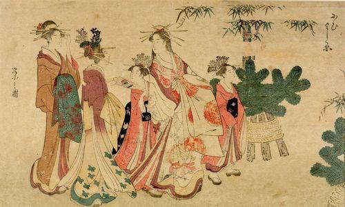 Hosoda Eishi: Courtesans and Kamuro in New Year's Attire - Harvard Art Museum