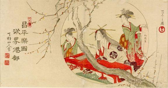 細田栄之: Courtesan and Kamuro Through a Round Window - ハーバード大学