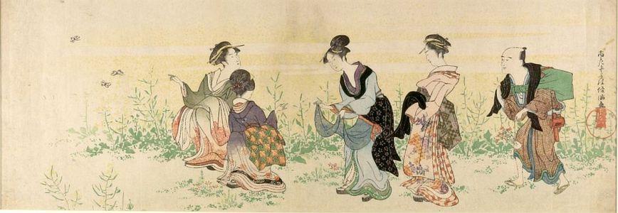 窪俊満: Gathering Rape Seed (Natane tsume), Edo period, circa 1790-1799 - ハーバード大学