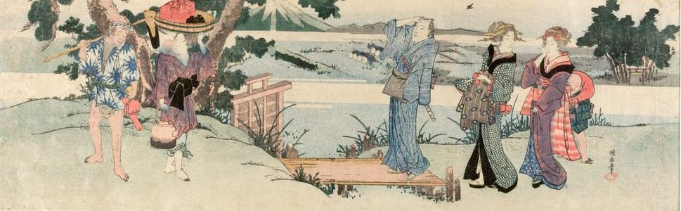 Ichiensai Kuninao: City Folk Watching Rice Planting, Edo period, circa early 19th century - ハーバード大学