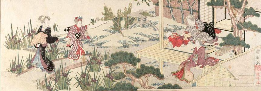 Utagawa Kuninaga: Garden Party in the Iris Garden - Harvard Art Museum