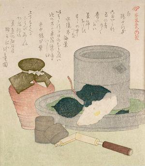 窪俊満: White Tea Container (Shiro nakatsugi) and Camillia, from the series Five Colors of Tea Utensils (Chaki goshiki shose), with poems by Suikiotei Baikei, Shichukan Hayazawa and Garyuen, Edo period, circa 1817-1819 - ハーバード大学