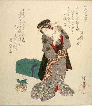 柳川重信: Geisha Looking at a Potted Flower - ハーバード大学