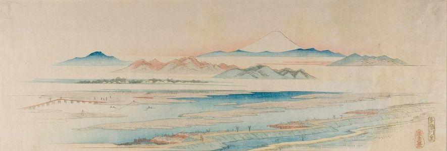 歌川広重: Tamagawa Village (Tamagawa no sato) from the series Famous Views of Edo - ハーバード大学