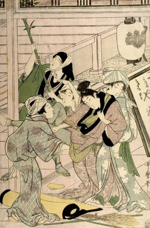 喜多川歌麿: Housecleaning (Susuhaki), Late Edo period, circa 1797-1799 - ハーバード大学
