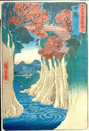 Utagawa Hiroshige: Kai Province, Monkey Bridge (Kai, Saruhashi), from the series Famous Places in the Sixty-odd Provinces [of Japan] ([Dai Nihon] Rokujûyoshû meisho zue), Edo period, 1853 (Kaei 6, 8th month) - Harvard Art Museum