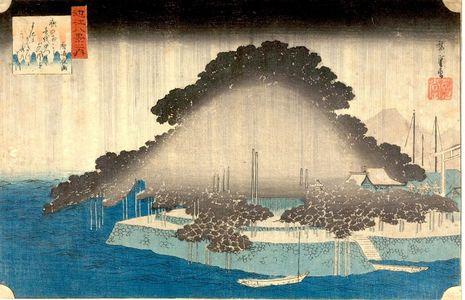 歌川広重: Night Rain at Karasaki (Karasaki no yau), from the series From the Eight Views of Lake Biwa (ômi hakkei no uchi), Edo period, circa 1834 - ハーバード大学