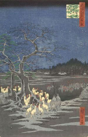 歌川広重: New Year's Eve Foxfires at the Changing Tree, ôji (ôji Shôzoku enoki ômisoka no kitsunebi), Number 118 from the series One Hundred Famous Views of Edo (Meisho Edo hyakkei), Edo period, dated 1857 (9th month) - ハーバード大学