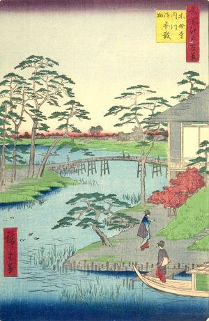 歌川広重: Mokuboji Temple, Uchigawa Inlet, Gozensaihata (Mokuboji Uchigawa Gozensaihata), Number 92 from the series One Hundred Famous Views of Edo (Meisho Edo hyakkei), Edo period, dated 1857 (12th month) - ハーバード大学