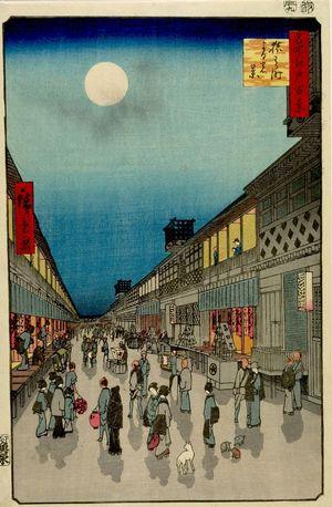 歌川広重: Night View of Saruwaka-machi (Saruwaka-machi yoru no kei), Number 90 from the series One Hundred Famous Views of Edo (Meisho Edo hyakkei), Edo period, dated 1856 (9th month) - ハーバード大学