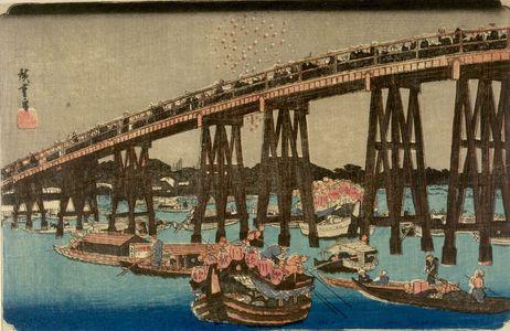 歌川広重: IN THE COOL OF THE EVENING AT RYOGOKU BRIDGE, from the series Famous Places of the Eastern Capital (Tôto meisho), Late Edo period, 1854 - ハーバード大学
