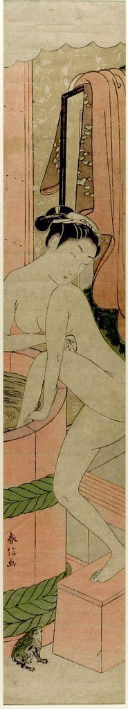 Suzuki Harunobu: Woman Entering Bath, Edo period, circa 1765-1770 - Harvard Art Museum