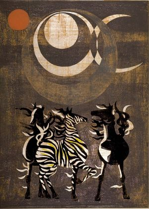 Nakayama Tadashi: East Wind / Moon Wind (Tôhô no kaze / Tsuki kaze), Shôwa period, dated 1959 - Harvard Art Museum