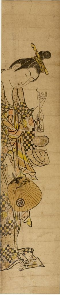 Ishikawa Toyonobu: Woman Holding Lantern and Fan, Edo period, circa 1740s - Harvard Art Museum