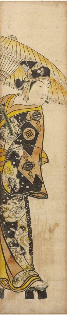 奥村政信: Actor Sanogawa Ichimatsu 1st with Parasol and Sword, Edo period, circa early 1740s - ハーバード大学