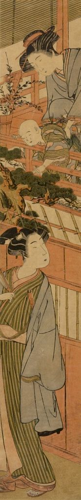 Kitao Shigemasa: Woman and Child Bidding Man Farewell, Edo period, mid-late 18th century - Harvard Art Museum