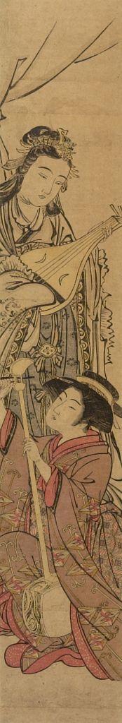 北尾重政: Benten and Geisha Playing Music, Edo period, mid-late 18th century - ハーバード大学
