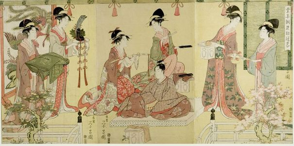 Hosoda Eishô: Triptych: Narihira Ason shokan ryaku - Harvard Art Museum