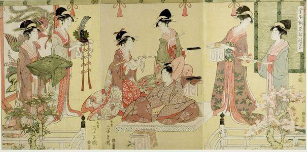 Hosoda Eishô: Triptych: Narihira Ason shokan ryaku - ハーバード大学