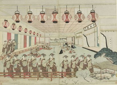 柳々居辰斎: Diptych: Perspective View of Dancers in an Interior - ハーバード大学