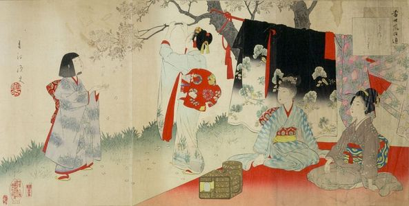 宮川春汀: Triptych: Village of Cherry Blossoms, from the series Esteemed Towns and Villages (Tôsei furaku tsû), Meiji period, 1897 - ハーバード大学