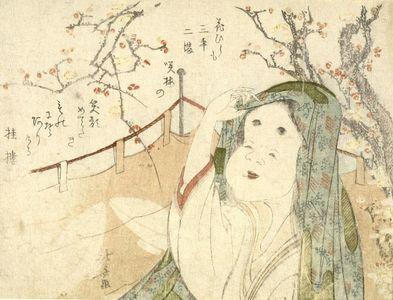 Katsushika Hokusai: Okame Viewing Plum Blossoms, with poem by Katsurarô, Edo period, - Harvard Art Museum