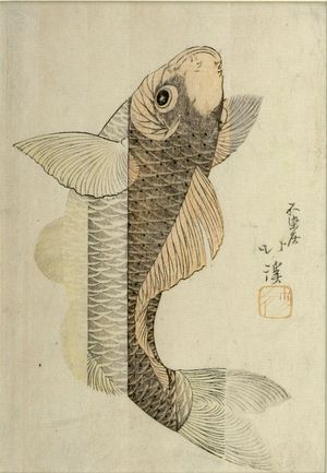 魚屋北渓: Carp Climbing a Waterfall, Edo period, circa early 19th century - ハーバード大学