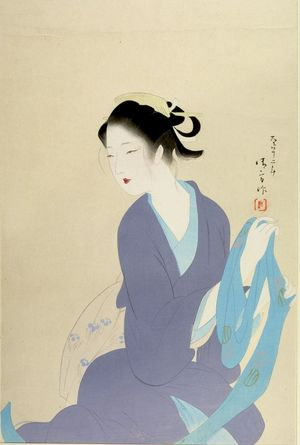 鏑木清方: Seated Woman Holding Sash, Taishô period, dated 1923 - ハーバード大学
