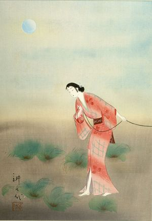 Takane Kôkô: Woman in Pink Kimono by Moonlight, Shôwa period, circa 1930s - ハーバード大学
