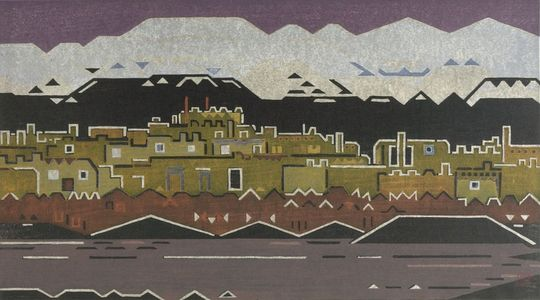 吉田遠志: Indian Village, New Mexico, Shôwa period, dated 1956 - ハーバード大学