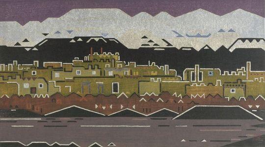 Yoshida Toshi: Indian Village, New Mexico, Shôwa period, dated 1956 - Harvard Art Museum