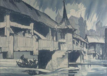 Urushibara Mokuchû: Wooden Bridge in Shower (after Frank Brangwyn R.A.), Meiji period, circa early 1910s - ハーバード大学