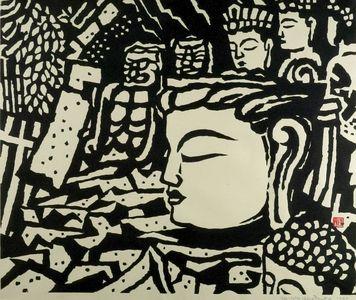 Hiratsuka Un'ichi: Stone Buddha Head of Usuki, Shôwa period, dated 1940 - Harvard Art Museum