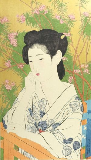 Hashiguchi Goyo: Woman Standing Before a Blossoming Peach Tree, Taishô period, dated 1918 - Harvard Art Museum