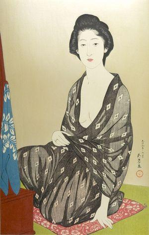 橋口五葉: Woman Seated on a Pillow Before a Low Dressing Table, Taishô period, dated 1918 (7th month of Taishô 9) - ハーバード大学