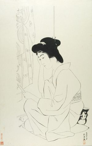 Hashiguchi Goyo: Woman Seated on a Pillow Reading a Letter While a Cat Sleeps Behind Her, Taishô period, dated 1918 (9th month of Taishô 9) - Harvard Art Museum