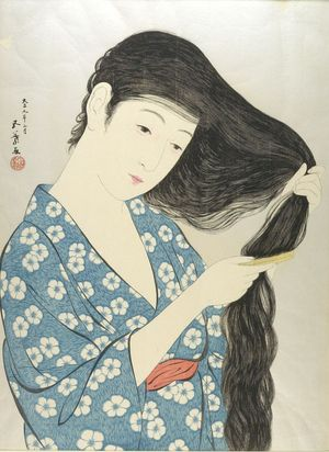 橋口五葉: Woman Combing Her Hair, Taishô period, dated 1920 - ハーバード大学