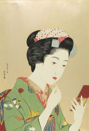 Hashiguchi Goyo: Chiyozuru Painting Her Mouth, Taishô period, dated 1920 - Harvard Art Museum