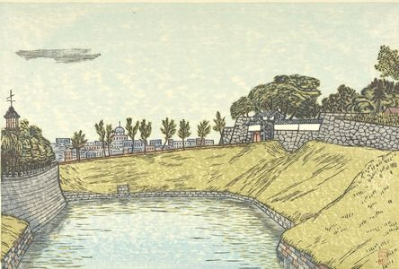 Hiratsuka Un'ichi: Tayasu Gate of Kudan (Kudan Tayasumon?), from the series Eight Views Around the Moat (Horibata hakkei), Shôwa period, circa 1930-1931? - Harvard Art Museum