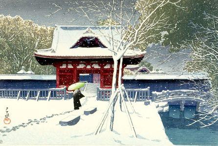川瀬巴水: Snow in Shiba Park (Shiba Kôen no yuki), Shôwa period, dated 1931 - ハーバード大学