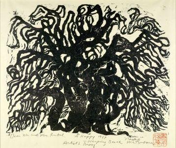 松原直子: Weeping Beech Tree, Shôwa period, dated 1967 - ハーバード大学